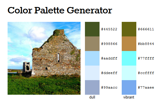 Color palette created from a photo