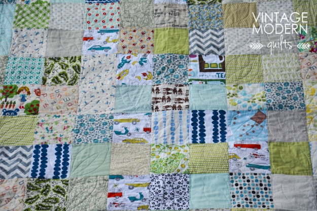 Cool colors scrap quilt.