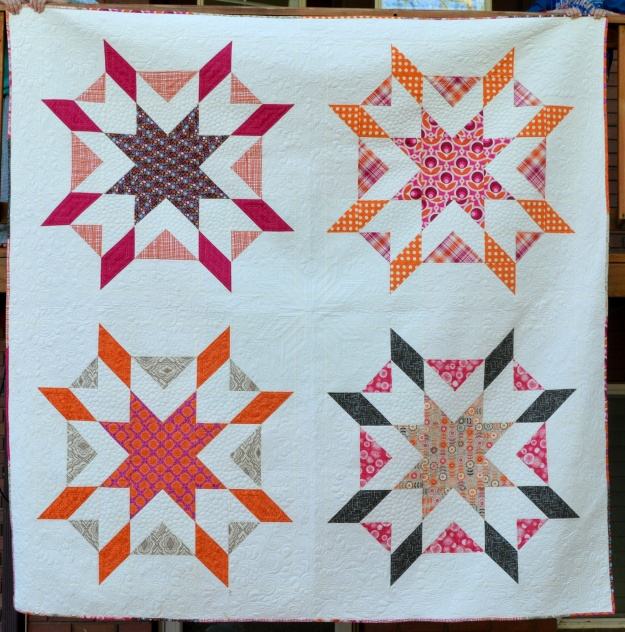 Melissa Corry's queen-size Starburst was one of her longest WIPs, because it had to wait two years to be quilted. Melissa says it was worth the wait.  www.craftsy.com/user/496522/pattern-store