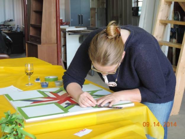 Christina Nickell working on her block. Photo courtesy  Kimberly Bolen.