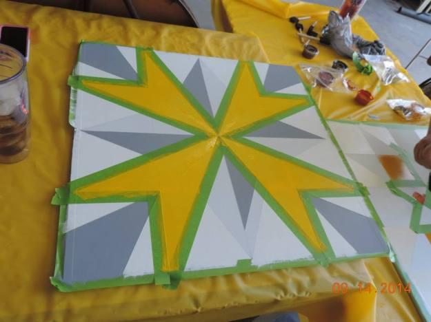 Kimberly Bolen's block in progress. Photo courtesy Kimberly Bolen.
